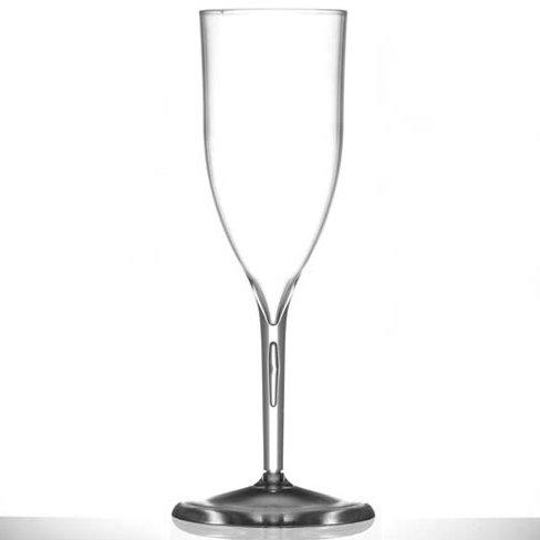 10 flûtes à champagne en plastique rigide transparent 18,5 cl