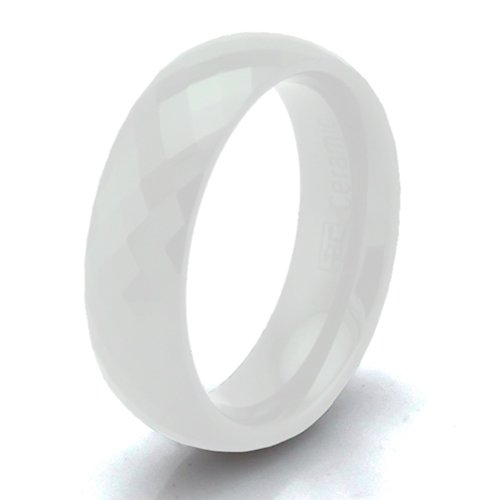 Weiße Keramik 6mm Multi Facettiert Stapelbar Ring - Größe 58 (18.5) (Weiße Keramik, Stein)