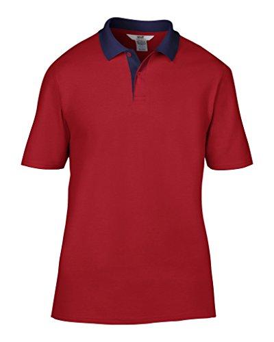 MAKZ Herren Poloshirt Mehrfarbig - Rot/Marineblau