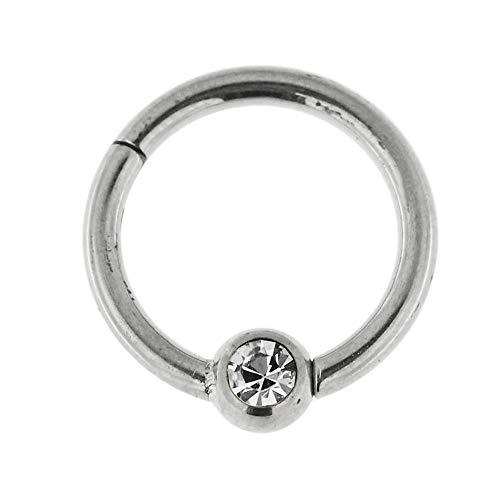 14 Gauge - 8MM Durchmesser 316L Chirurgenstahl Clicker klappbar Bead Ring mit Crystal Stone Piercing Schmuck