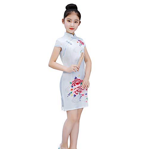 Plum Kostüm Kinder - Haodasi Chinesische Frauen Mädchen Cheongsam - Plum Phoenix Pfingstrose Blumendruck Kostüm Kinder Retro Kleid Short Qipao