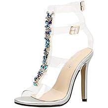 7d9cb2713 Sandalia Tacon Mujer Sandalias Transparentes Kanlin1986 Sandalias de Tiras  Fiesta Graduación Boda Pedrería Talla Zapatos Alto