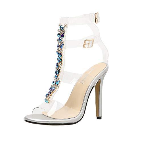81cb2465a02 Women's High-Heeled Sandals, Ladies Fashion Bohemia Gladiator Diamonds  Wedding Bridal Shoes Elegant Buckle Strap Peep Toe Shoes for ...