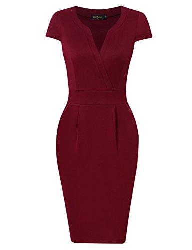 KoJooin Damen Elegant Etuikleider Knielang Kurzarm Business Kleider Rot Bordeaux Weinrot S