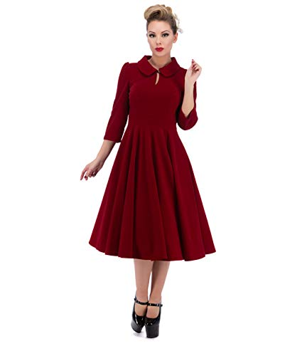 3067 H&R Herzen und Rosen London 50's Glamorous Velvet Nachmittagskleid, Weinrot, XL (UK 16) (Kleider Herzen Rosen Und London)