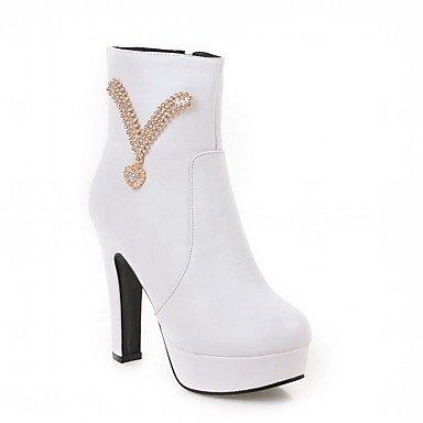 Rtry Femmes Chaussures Pu Similicuir Automne Hiver Confort Nouveauté Mode Bottes Chunky Bottes Bout Rond Bottillons / Strass Bottines Us6 / Eu36 / Uk4 / Cn36