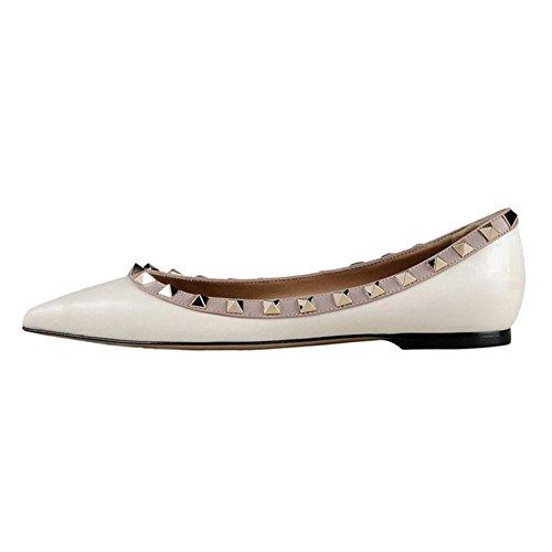 EKS Damen Spitz Flat Heels Spikes Ballerinas Schuhe Wohnungen White 40 EU (14 Heel Schuh Spike)