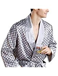EDTara Men's Comfortable 100% Silk Satin Robe Bathrobe Luxury Sleepwear Loungewear Grey Asia L