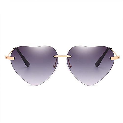 GJYANJING Sonnenbrille Herz Sonnenbrille DamenmodeRandloseSonnenbrille Klar TransparentHerz Brille Vintage Frameless Uv400 Spiegel Eyewear