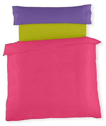 ESTELA - Juego de funda nórdica serie Multicolor (3 piezas) - Chicle-Lila-Pistacho - Cama de 90 cm