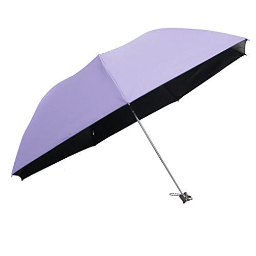 GuokeSonnig Regen Zwei Klappen Mit Drei Grossen Auto Weiblich Sonnenschutz Solar Uv-Licht Pocket Kleine Roman-Mittel Regenschirm, Deep-Purple