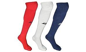 Heelium Bamboo Football Socks, Stockings for Men & Women, Long Knee Length Superior Grip for Shin Guard, Anti Slip Blister Protection Anti Odour, Free in Blue, Red & White, Unisex