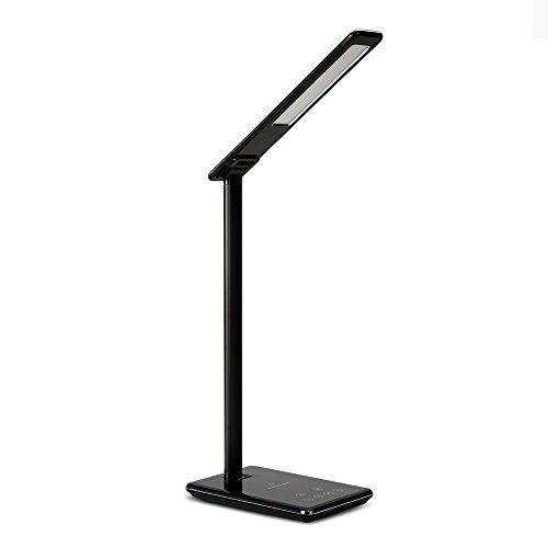 Chargeur sans fil Qi de Xinxin-star, lampe de remplissage sans fil de lampe de bureau avec le port de remplissage d'USB, commande tactile, modes de 4 couleurs, lumière de nuit (Noir)
