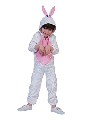 Luxuspiraten - Kinder Jungen Mädchen Kostüm Plüsch Hase Häschen Bunny Rabbit Fell Einteiler Onesie Overall Jumpsuit, perfekt für Karneval, Fasching und Fastnacht, 140, Weiß