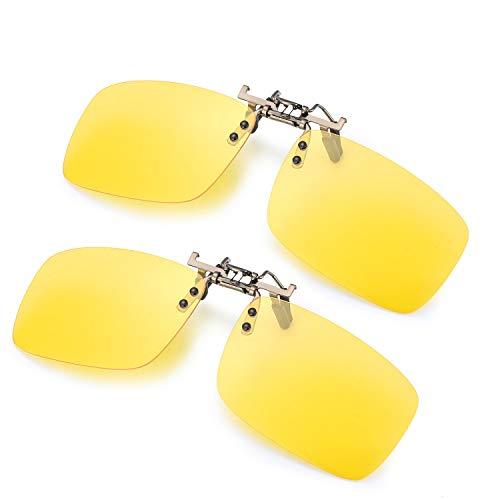 ELIVWR 2-Stück, Herren Rectangle Sonnenbrillen-Clip Polarisierte für Brillenträger/Nachtsichtbrille Autofahren für Brillenträger 100% Schutz vor Schädlichen UVA/UVB Strahlen (Gelb+Gelb, 59 * 41)