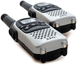AEG Voxtel R100 - Kit de 2 walkie-talkies (446 MHz, pinza para cinturón), gris