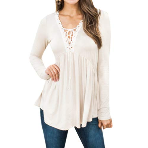 1ed6cc603a Luckycat Mujer Suelta Manga Larga cordón Túnica Casual Camisa Tops Shirt