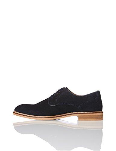 FIND Herren Rauhleder Derby-Schuhe, Blau (Navy), 43 EU