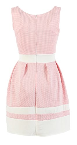 Damen ärmelloses Sommer Minikleid Kleid Dress kariert gestreift Bundfalten Rosa