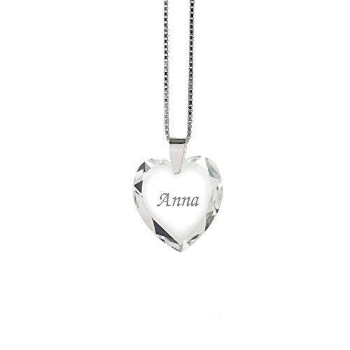 Halskette 925 Sterling Silber mit SWAROVSKI ELEMENTS Herz und individueller - Mit Halskette Gravur