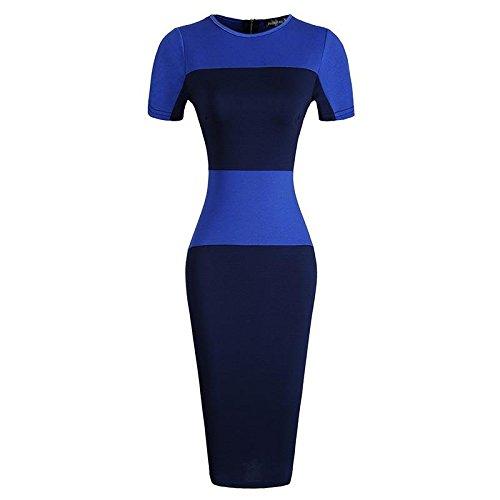 Jeansian Femmes Fashion Slim Robe Retro Stripe Manches Courtes Slim Sexy Dress WKD273 Navy