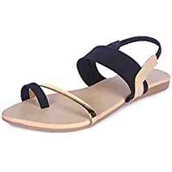 High Brands Women's Black Flat Sandal - Sm194