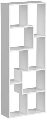 Homfa Scaffale Legno Libreria da Muro Mobile da Terra in MDF per Ufficio, Studio, Ingresso, Disegno Elegante e Moderno 60 × 24 × 160cm (Bianco)