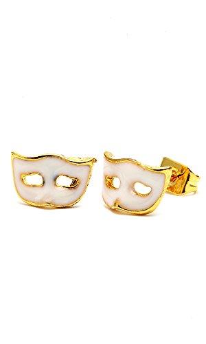 Chic-Net Brass Boucles d'oreille masque Venise 10mm Multicolore Or émail sans Nickel laiton blanc