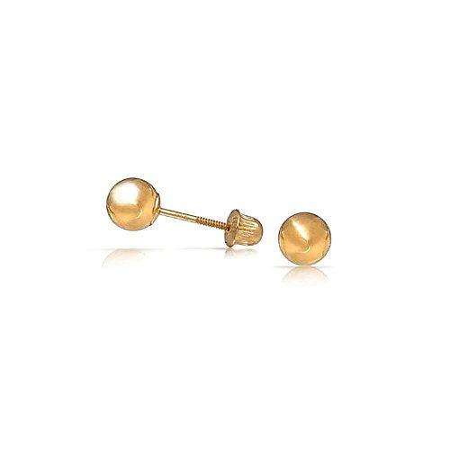 Bling Jewelry 14K Yellow Gold Bimbi Palla Bambini Prigionieri di sicurezza Vite Torna tre millimetri