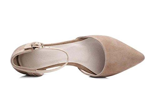 Beauqueen Ragazze donne pompa i pattini casuali del partito della caviglia StrapsLow tacco comfortbale scarpe eleganti Europa formato 34-39 apricot