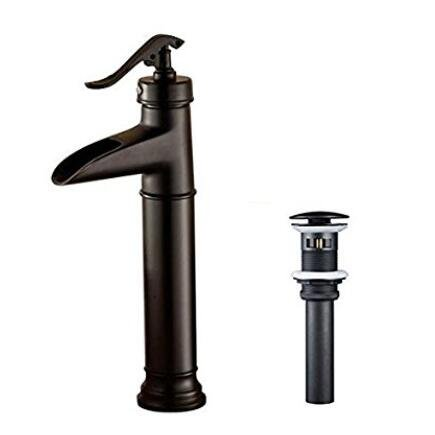 Senlesen Bec cascade Bronze huilé Poignée simple de salle de bain Lavabo Vessel robinet mitigeur de lavabo, Toilettes Orb pour robinets Haut du corps