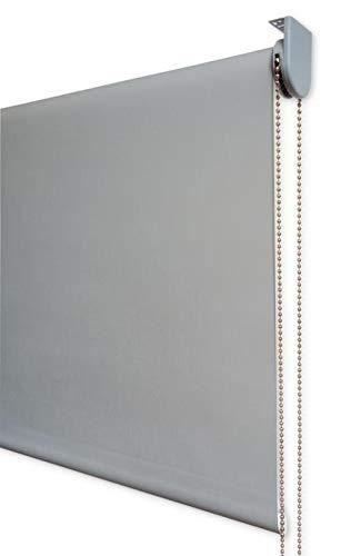 Estor Enrollable Visillo Premium Metal (Desde 40 hasta 300cm de Ancho) Transparente (máxima claridad y Visibilidad Exterior). Color Gris. Medida 250cm x 220cm para Ventanas y Puertas
