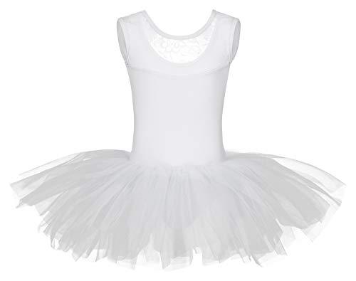 tanzmuster Kinder Ballett Tutu Lottie aus weicher Baumwolle mit Breiten Trägern und Spitzeneinsatz vorn in weiß, Größe:116/122