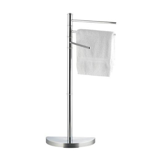 Axentia piantana porta asciugamani , metallo cromato con 3 bracci e piedistallo pesante semirotondo, altezza di ca. 86 cm