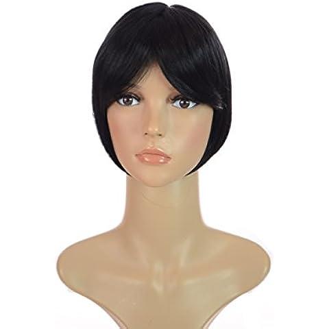 Postizo Topper con clip en la coronilla en color negro y flequillo suave   Ideal para ocultar la caída del pelo   Enganche fácil  Cobertura para la coronilla
