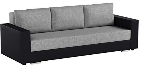 Schlafsofa Bird - Sofa mit Schlaffunktion und Bettkasten, Klappsofa, Schlafcouch mit Chromfüße, Couch, Couchgarnitur, Sofagarnitur (Schwarz + Grau (Dolaro 08 + Berlin 01))