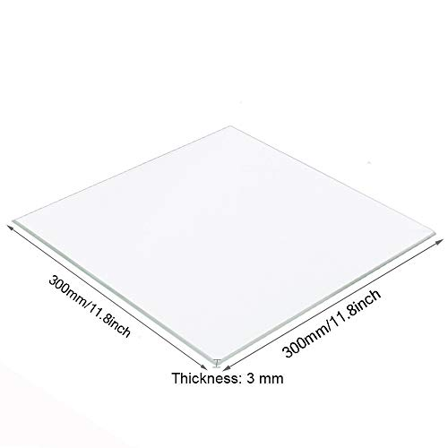 Placa de cristal de borosilicato para impresoras 3D, 300 mm x 300 mm x 3 mm, vidrio perfectamente plano con bordes pulidos
