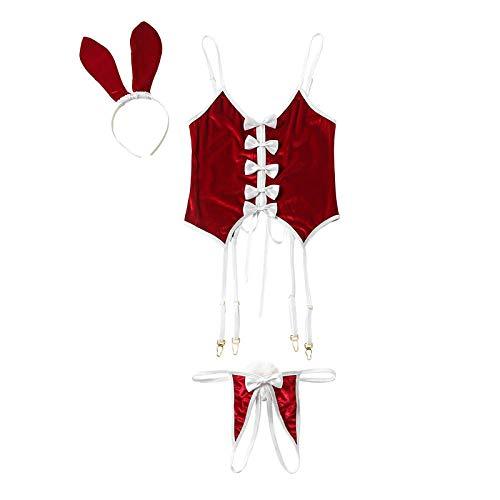Nachtwäsche & Bademäntel für Damen Frauen Sexy Dessous Crochless Unterwäsche Set Thong Tail Paties Headwear Kaninchen Cosplay Uniform Bunny Kostüme @ One_Size_Wie - Kaninchen Themen Kostüm