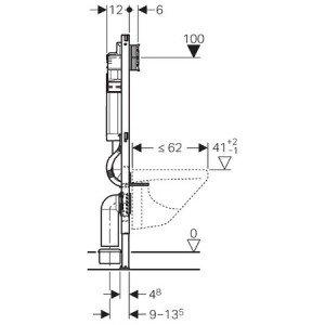 Geberit 111.374.00.5 Montageelement Duofix mit Sigma Spülkasten 12 cm (UP320), Höhe 112 cm