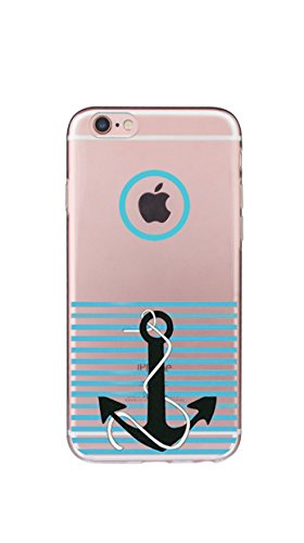 Case Cover Per iphone 6/6S Plus 5.5 pollici Trasparente TPU Gel Silicone Bumper Protettivo Skin Custodia Ultra-sottile Flessibile morbido Protettiva Shell(fiore) ancora