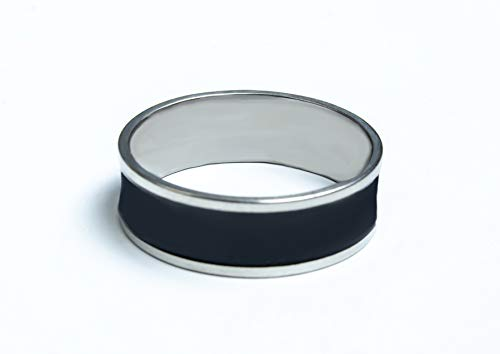 KAEJYMERS Shining Black and Silver Titanium Thumb Ring for Boys & Girls
