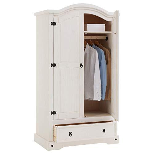 CARO-Möbel Kleiderschrank Rural im Mexiko Stil Garderobenschrank Wäscheschrank Kiefer massiv weiß lasiert 2 Türen und 1 Schublade