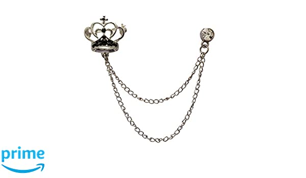 Knighthood Elegant Silver Crown With Crystal Detailing Hanging Chain Metal Lapel Pin Brooch for Men