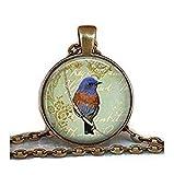 Bluebird Collage Anhänger Bluebird Halskette mit Vogel Liebhaber Geschenk Bluebird Schmuck Bluebird Schmuck