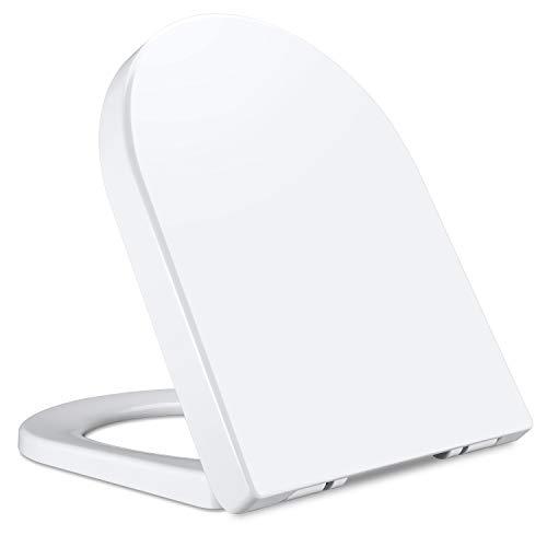 Qisiewell Asiento de Inodoro Tapa de WC Blanco Crema Realizado en Material...