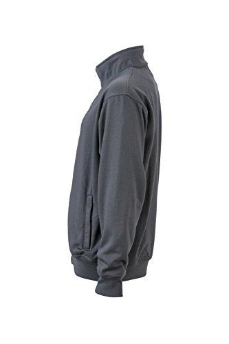 James & Nicholson Herren Workwear Sweat Jacket Sweatshirt Grau (Carbon)