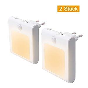 1 Stück LED Nachtlicht Steckdose mit Bewegungsmelder, Steckdosenlicht Helligkeit Stufenlos Einstellbar…