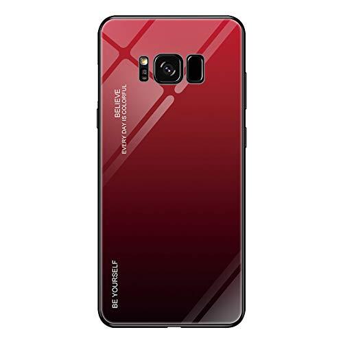 Alsoar Kompatibel mit Samsung Galaxy S8 Hülle,Ultra Dünn Glas Rückseite mit Silikon TPU Rahmen Farbverlauf Schutzhülle Kratzfest Stoßfest Slim Shell Case für Samsung Galaxy S8 (Rot schwarz)