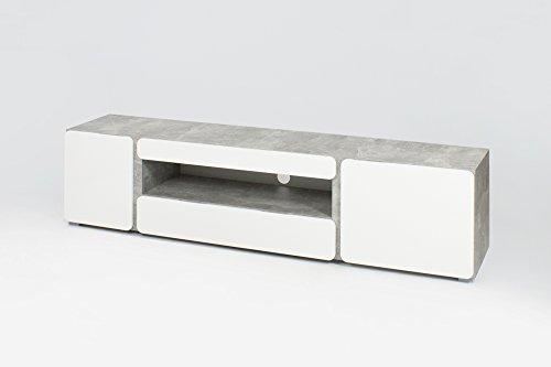Homexperts Sideboard Rimini / Qualitativ hochwertiges TV-Board aus Holzwerkstoff mit separetem Fach für Ihre Soundbar/ 200 x 41 x 48 cm / Fronten: Weiß Hochglanz, Korpus: Beton-Optik grau