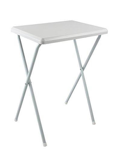 Tavolino pvc alto per campeggio e giardino bianco con piano rimovibile